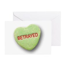 Green Candy Heart Betrayed Greeting Cards (Pk of 2