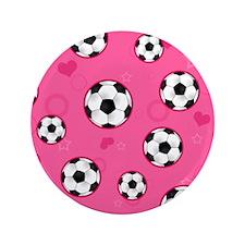"Cute Soccer Ball Print - Pink 3.5"" Button"