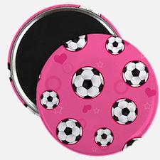 Cute Soccer Ball Print - Pink Magnet
