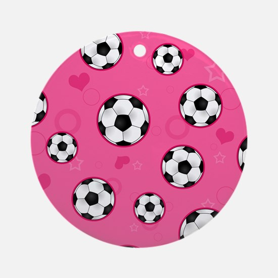 Cute Soccer Ball Print - Pink Ornament (Round)