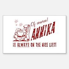 Nice List Annika Christmas Rectangle Decal