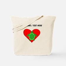 Custom Green Turtle Heart Tote Bag