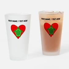 Custom Green Turtle Heart Drinking Glass