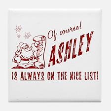 Nice List Ashley Christmas Tile Coaster