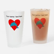 Custom Blue Dolphin Heart Drinking Glass