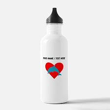 Custom Blue Dolphin Heart Water Bottle