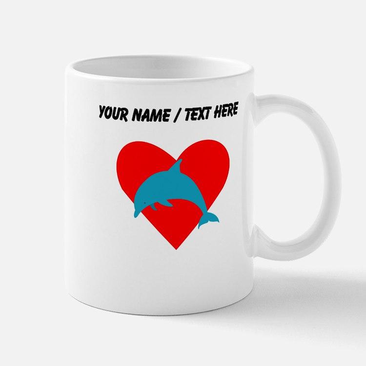 Custom Blue Dolphin Heart Mug