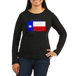 Texas State Flag Women's Long Sleeve Brown T-Shirt