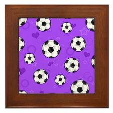 Cute Soccer Ball Print - Purple Framed Tile
