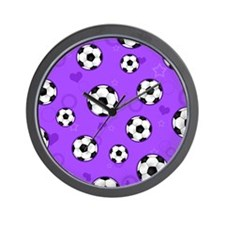 Cute Soccer Ball Print - Purple Wall Clock