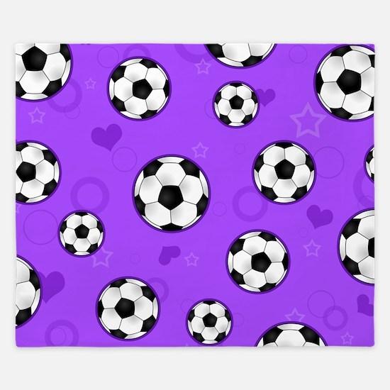 Cute Soccer Ball Print - Purple King Duvet