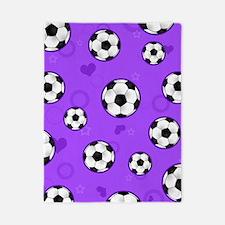 Cute Soccer Ball Print - Purple Twin Duvet