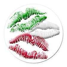 Italian Kiss Round Car Magnet