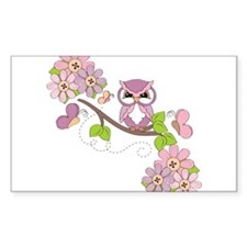 Whimsical Owl and Butterflies Decal