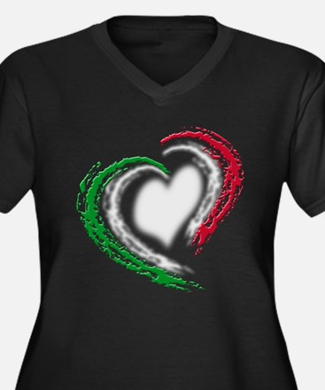 Italian Heart Women's Plus Size V-Neck Dark T-Shir