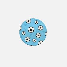 Cute Soccer Ball Print - Blue Mini Button