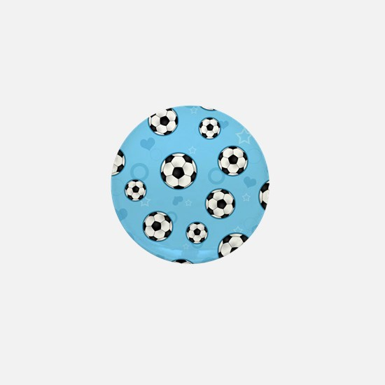 Cute Soccer Ball Print - Blue Mini Button