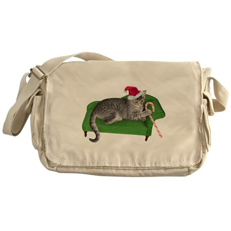 Christmas Cat Couch Messenger Bag