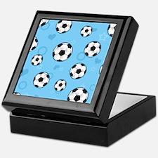 Cute Soccer Ball Print - Blue Keepsake Box