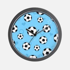 Cute Soccer Ball Print - Blue Wall Clock