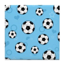 Cute Soccer Ball Print - Blue Tile Coaster
