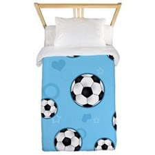 Cute Soccer Ball Print - Blue Twin Duvet