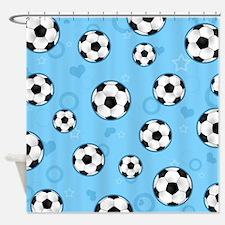 Cute Soccer Ball Print - Blue Shower Curtain