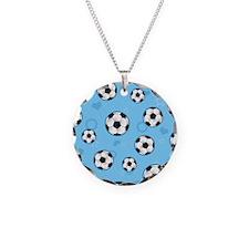 Cute Soccer Ball Print - Blue Necklace