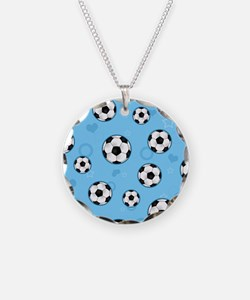 Cute Soccer Ball Print - Blue Necklace