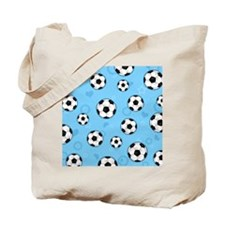 Cute Soccer Ball Print - Blue Tote Bag