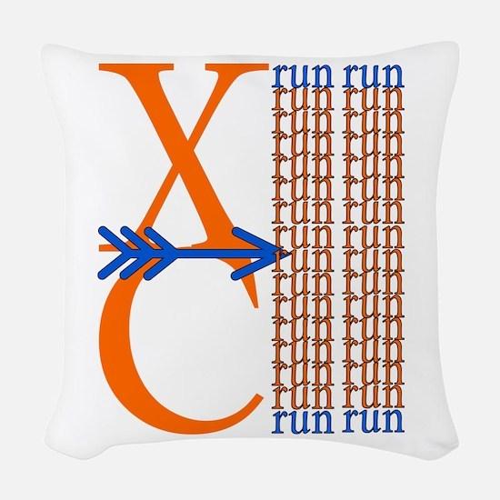 XC Run Orange Royal Blue Woven Throw Pillow
