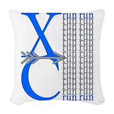 XC Run Blue Gray Woven Throw Pillow