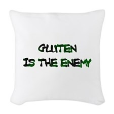 GLUTEN IS THE ENEMY Woven Throw Pillow