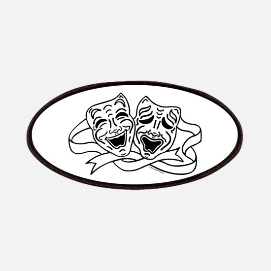 Comedy Tragedy Drama Masks - Black on White Patche