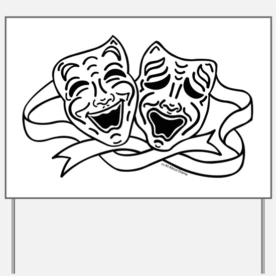 Comedy Tragedy Drama Masks - Black on White Yard S