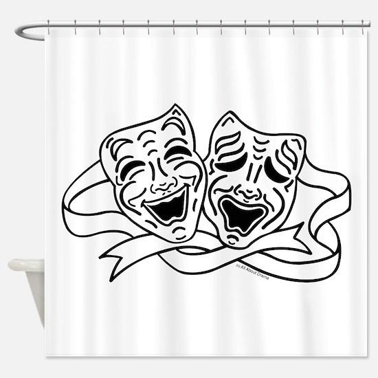 Comedy Tragedy Drama Masks - Black on White Shower