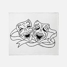 Comedy Tragedy Drama Masks - Black on White Throw