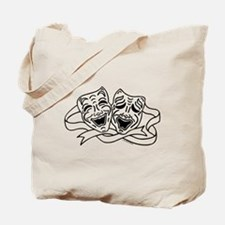Comedy Tragedy Drama Masks - Black on White Tote B