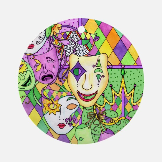 Too Much Fun Mardi Gras Masks Ornament (Round)