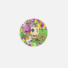Too Much Fun Mardi Gras Masks Mini Button (10 pack