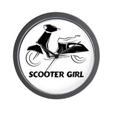 Scooter Girl (Black) Wall Clock