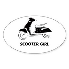 Scooter Girl (Black) Oval Decal