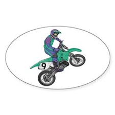 Dirt Bike Popping Wheelie Oval Decal