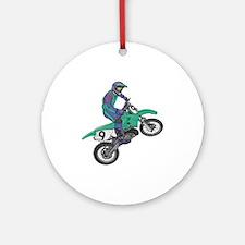 Dirt Bike Popping Wheelie Ornament (Round)