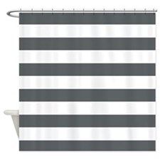 Gray and White Bold Stripes Shower Curtain