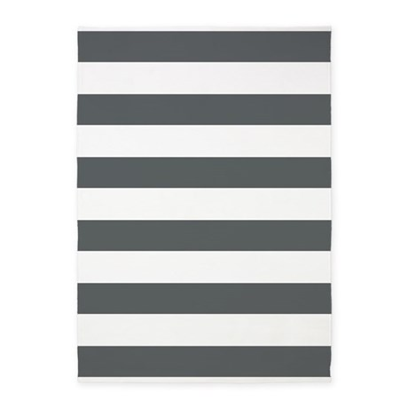 Gray and White Bold Stripes 5'x7'Area Rug