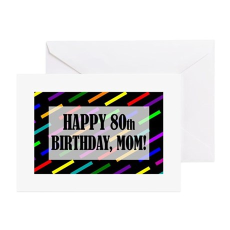 80th Birthday For Mom Greeting Cards (Pk of 10)