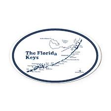 Florida Keys - Map Design. Oval Car Magnet