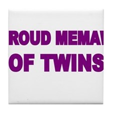 PROUD MEMAW OF TWINS Tile Coaster
