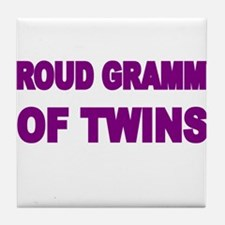 PROUD GRAMMY OF TWINS Tile Coaster